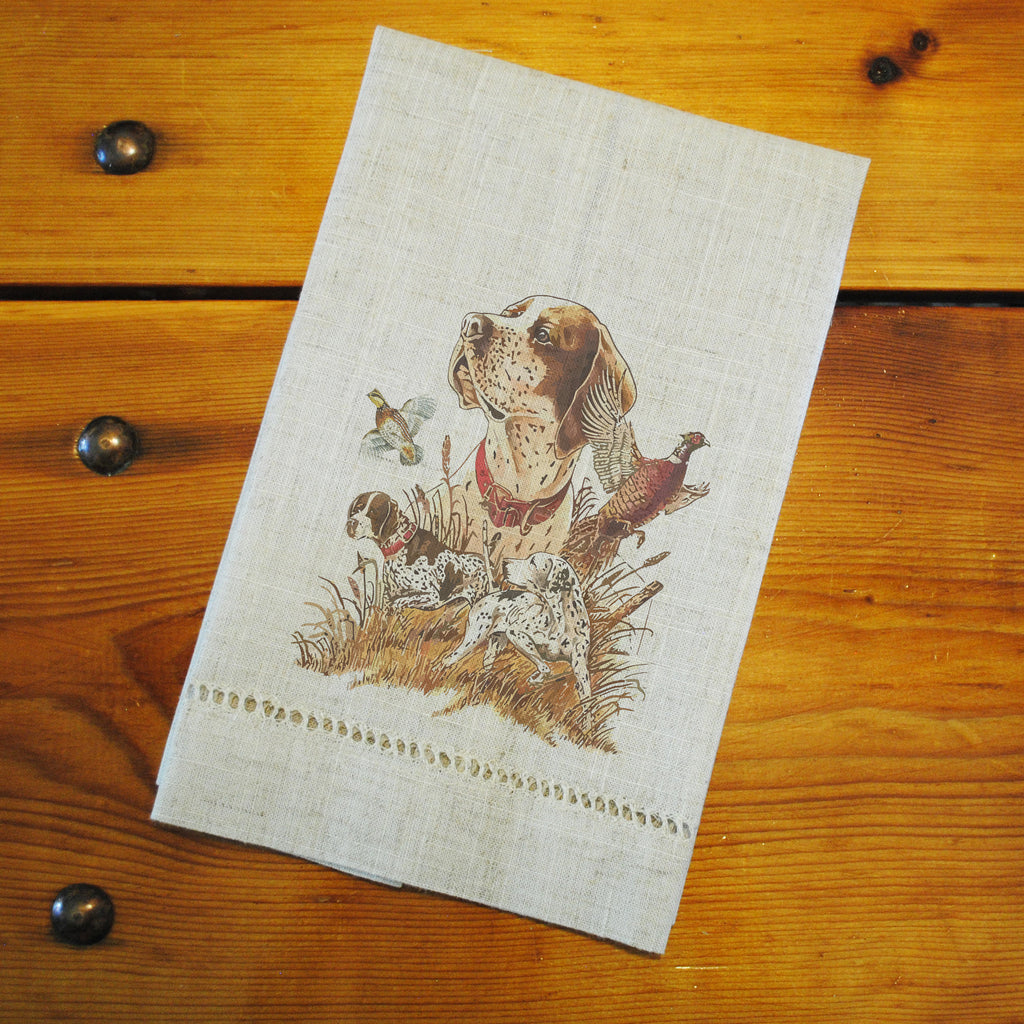 "Hemstitched ""Linen"" Tea Towel - Dog & Game Birds"