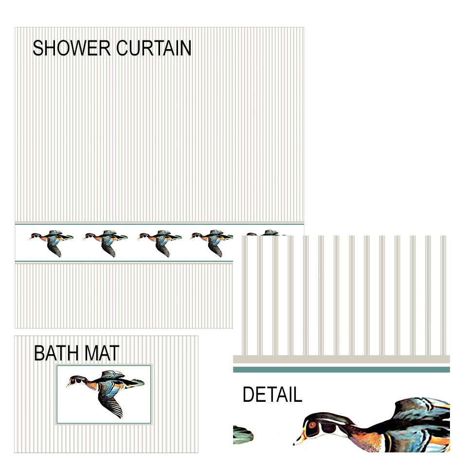 Wood Duck Shower Curtain and Bath Mat