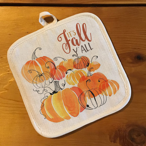 "Pot Holder, Natural Color ""Linen"" - Fall Pumpkins"
