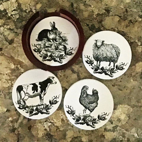 Sandstone Coasters in Wood Rack - Farmhouse Animals