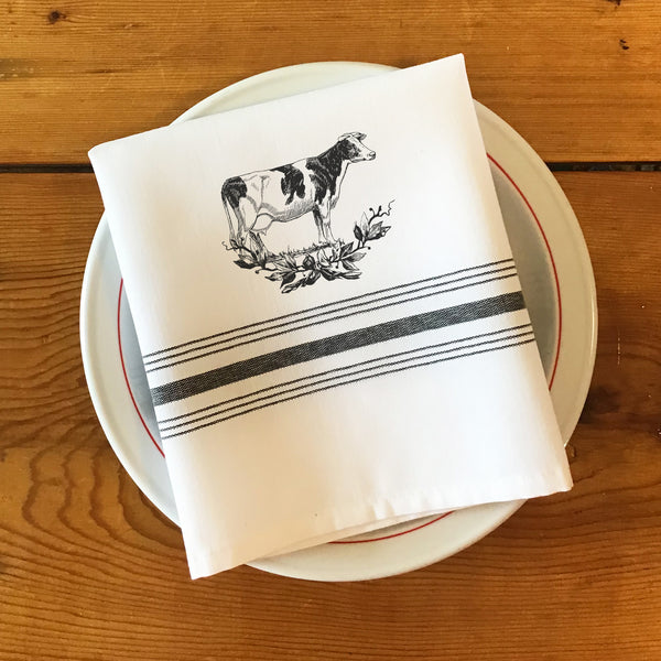 Farmhouse Napkin with Black Stripes, Set of 4 - Assorted Chicken, Cow, Rabbits, & Sheep