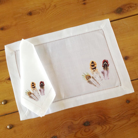 Hemstitch Place Mats & Napkins - Set of Six, Gamebird Feathers