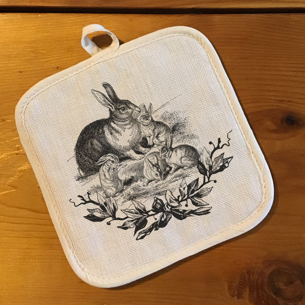 "Pot Holder, Natural Color ""Linen"" - Farmhouse Animals"