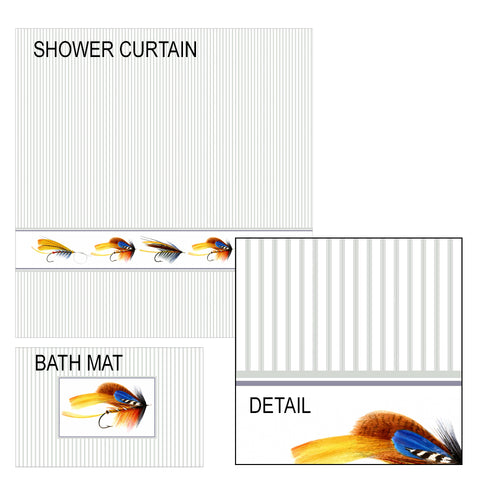 Fishing Flies Shower Curtain and Bath Mat