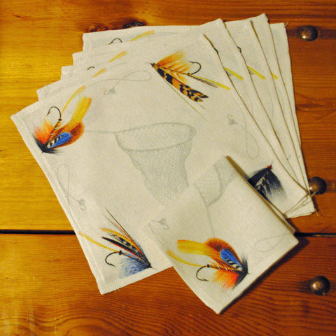 "Fishing Flies Cocktail/Beverage Napkins, 10"" x 10""- Set of Six"