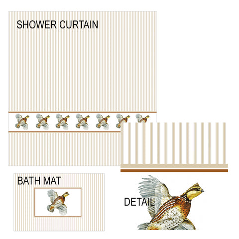 Flying Bobwhite Quail Shower Curtain and Bath Mat