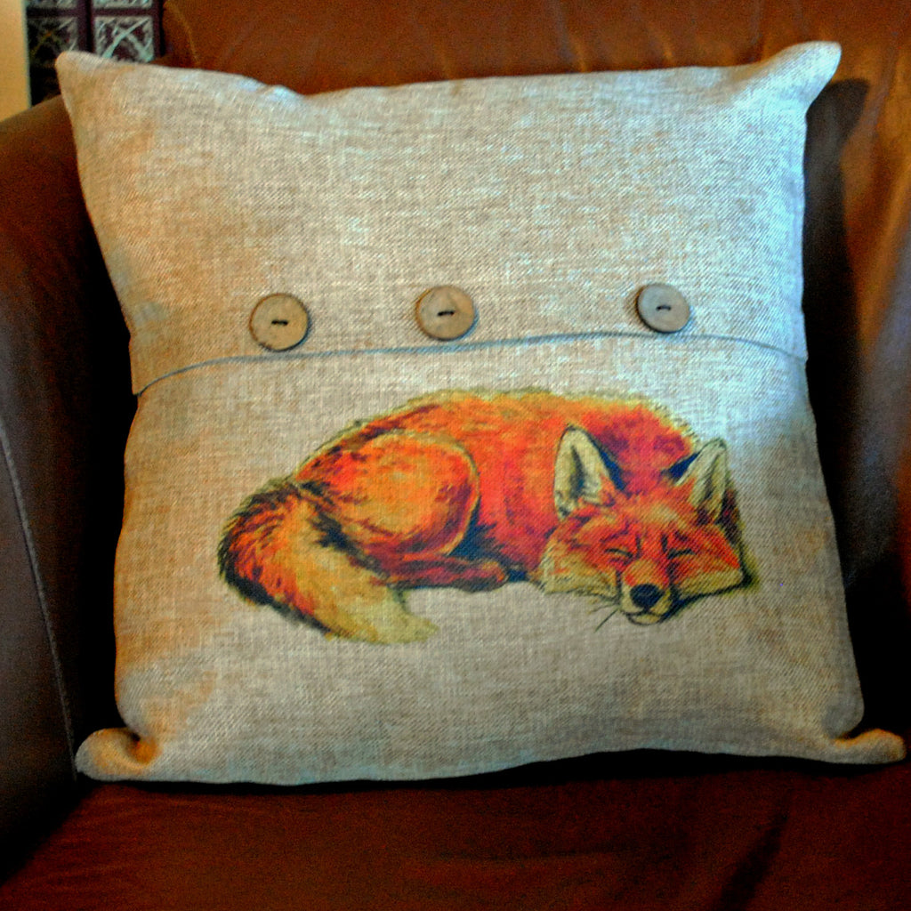 Red Fox Throw Pillow Cover