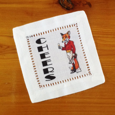 White Hemstitch Cocktail Napkins- Set of Six, Fox Hunting Cheers