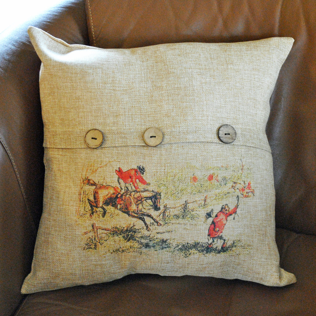 Vintage Fox Hunt Scene Button Throw Pillow Cover