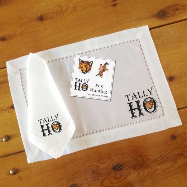 Hemstitch Place Mats & Napkins - Set of Six, Fox Hunting, Three Designs
