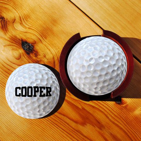 Golf Sandstone Coasters in Wood Rack