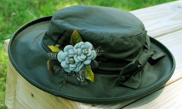 Waxed Cotton Ladies Hat - Green