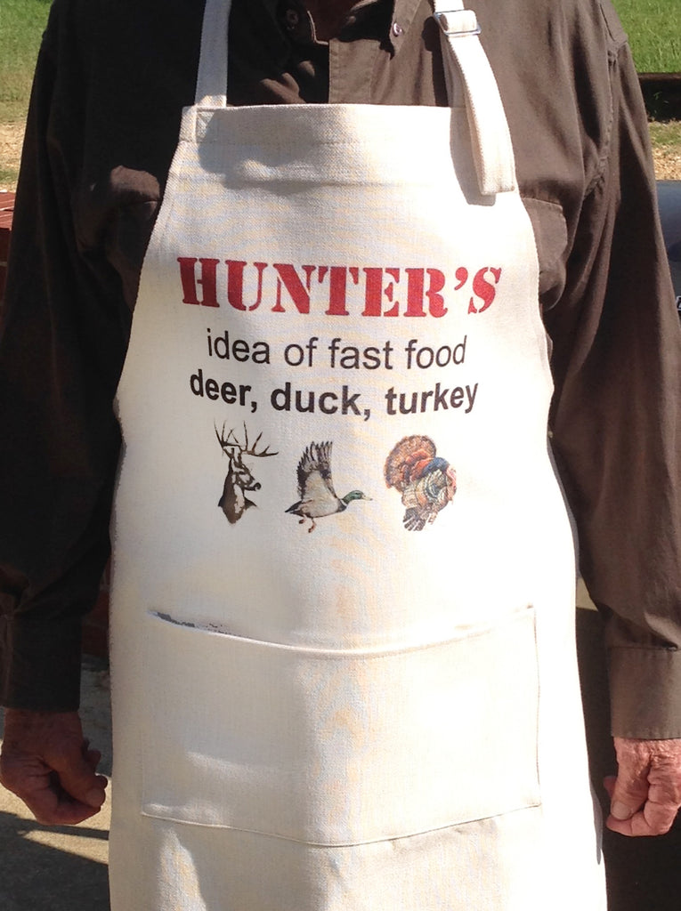 Aprons for Guys, Hunter's Idea of Fast Food...