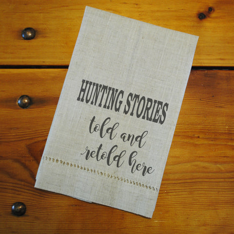 "Hemstitched ""Linen"" Tea Towel - Hunting Stories Told Here"