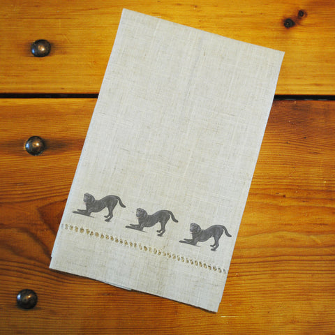 "Hemstitched ""Linen"" Tea Towel - Black Lab"