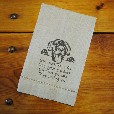 "Hemstitched ""Linen"" Tea Towel - Lab...watching you"