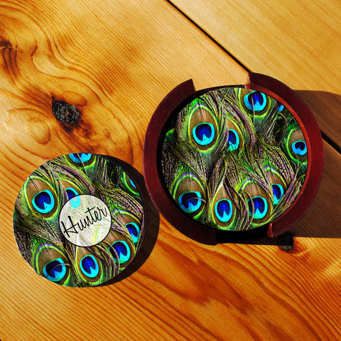 Peacock Feathers Sandstone Coasters in Wood Rack
