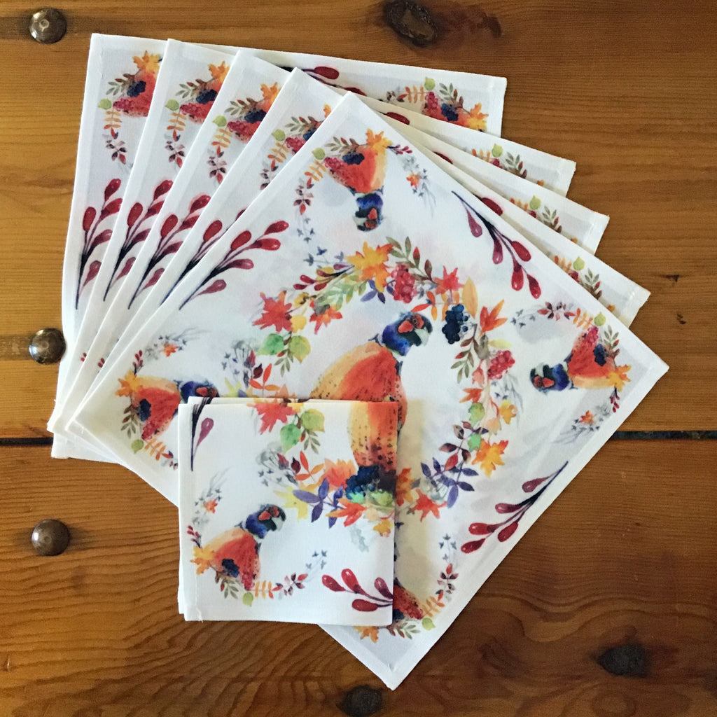 "Pheasant Cocktail/Beverage Napkins, 10"" x 10""- Set of Six"