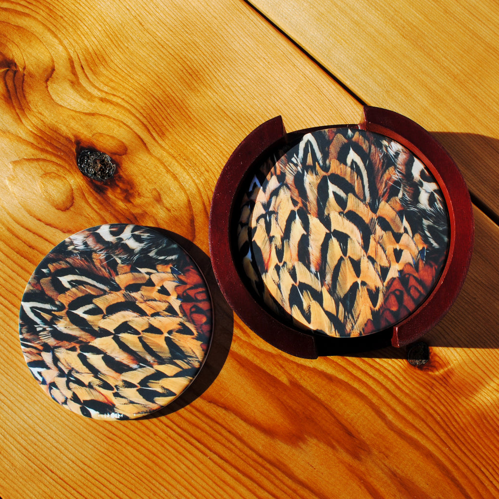 Pheasant Feather Sandstone Coasters in Wood Rack