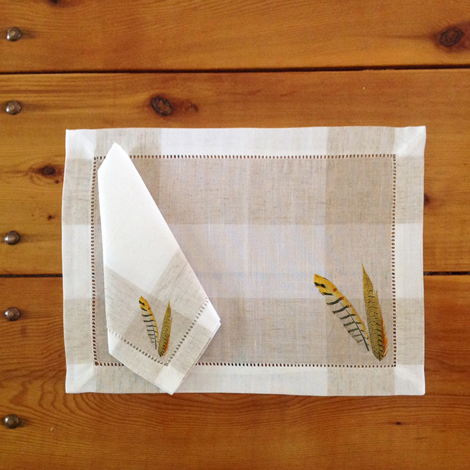 Hemstitch Place Mats & Napkins - Set of Six,Pheasant Feathers