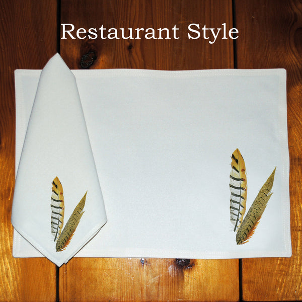 Table Linens, Set of Six - Pheasant Feathers