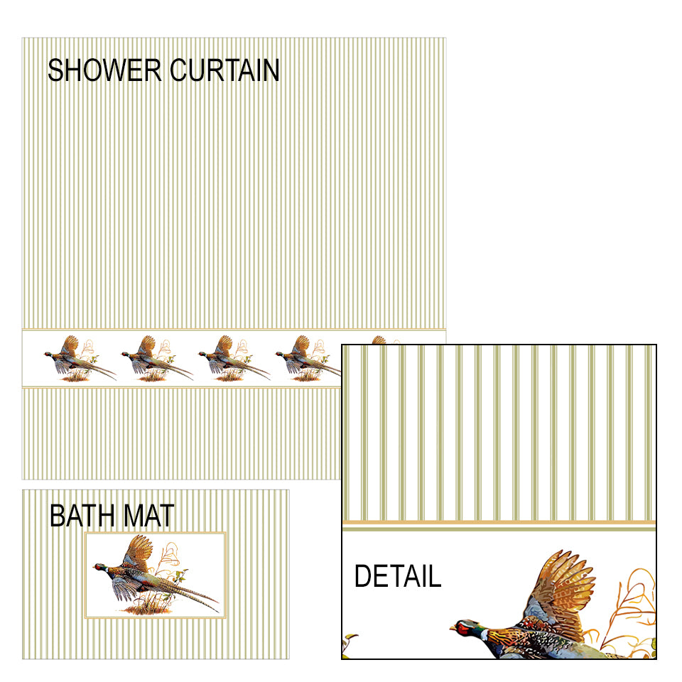 Pheasant Shower Curtain and Bath Mat