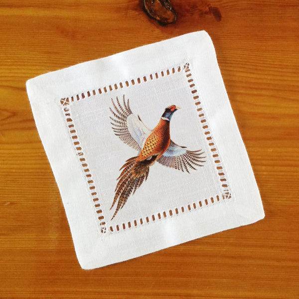 Hemstitch Place Mats & Napkins - Set of Six, Pheasant