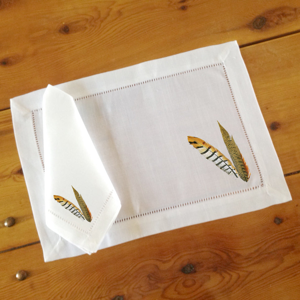White Hemstitch Place Mats and Dinner Napkins, Pheasant Feathers, Sets of Six