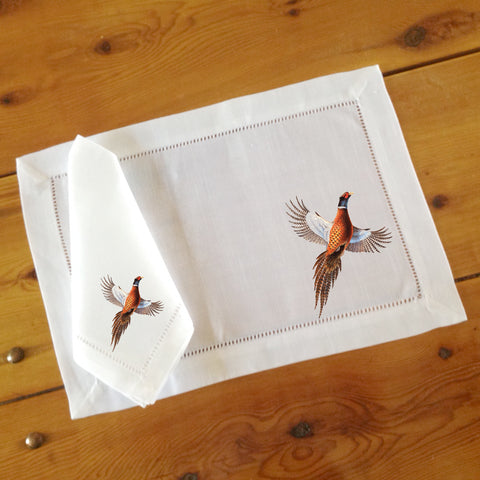White Hemstitch Placemats and Dinner Napkins with Pheasant, Sets of Six