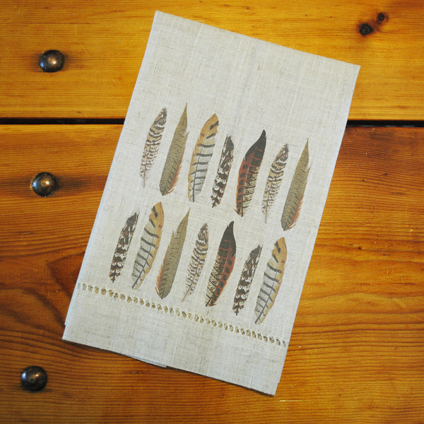 "Hemstitched ""Linen"" Tea Towel - Pheasant Feathers"