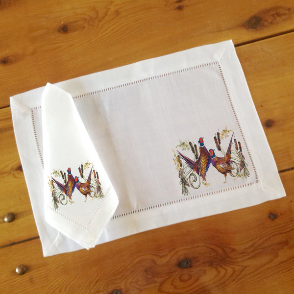 Hemstitch Place Mats & Napkins - Set of Six, Pheasants