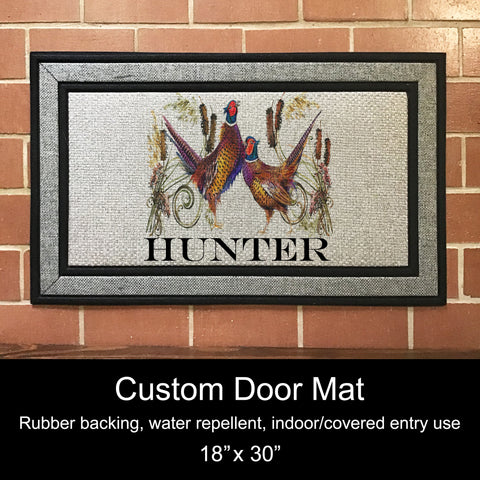 "Custom Door Mat, 18"" x 30""- Pheasants"