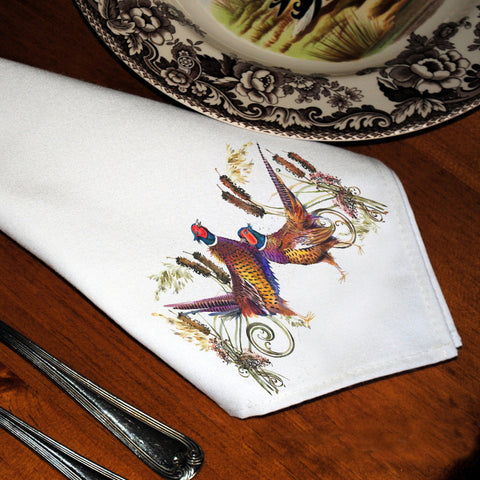Table Linens, Set of Six - Pheasants