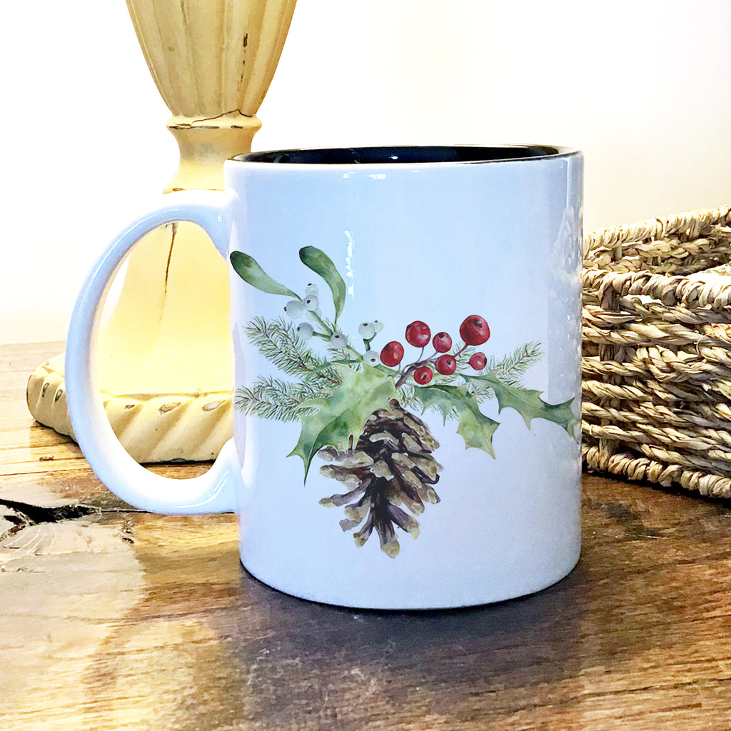 Ceramic Mug - Pinecone and Holly