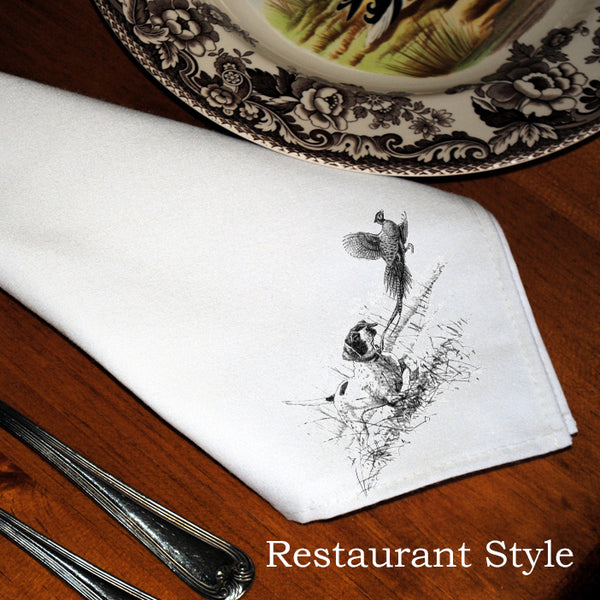 Table Linens, Set of Six - Pointer & Pheasant