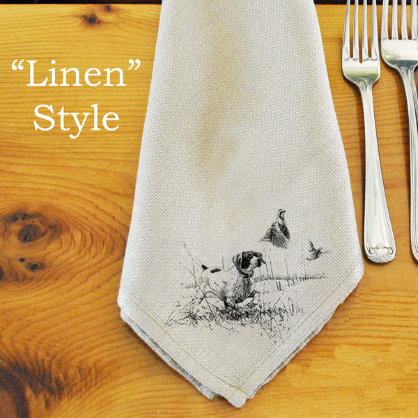 Table Linens, Set of Six - Pointer & Bobwhite Quail