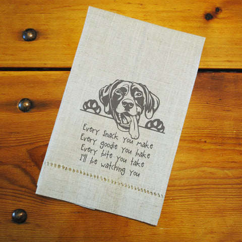 "Hemstitched ""Linen"" Tea Towel - Pointer...watching you"