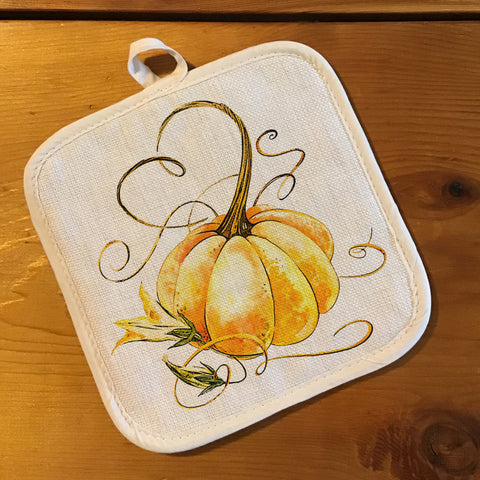 "Pot Holder, Natural Color ""Linen"" - Pumpkin"