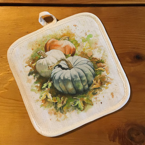 "Pot Holder, Natural Color ""Linen"" - Autumn Pumpkins"