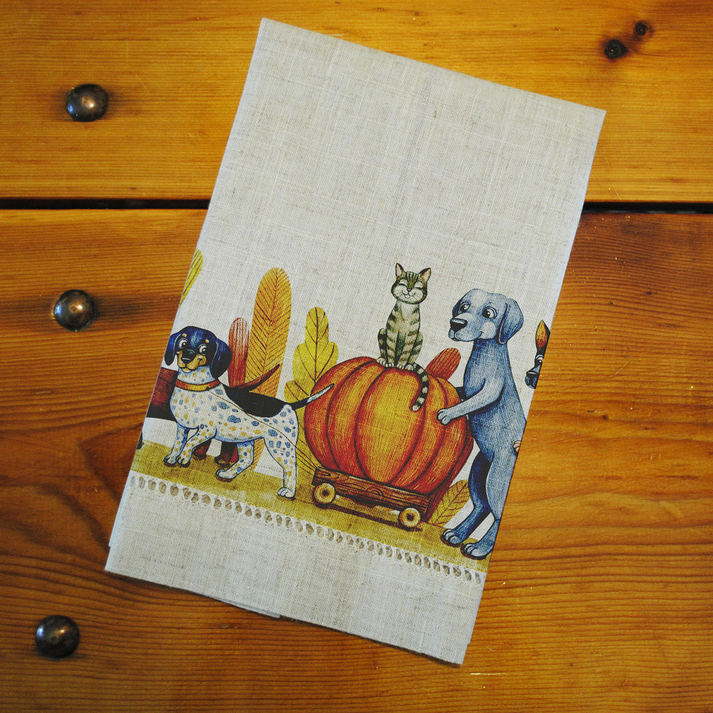 "Hemstitched ""Linen"" Tea Towel - Pumpkins & Puppies"