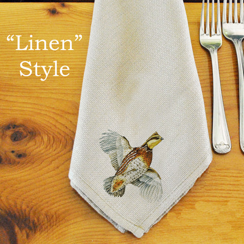 Table Linens, Set of Six - Bobwhite Quail