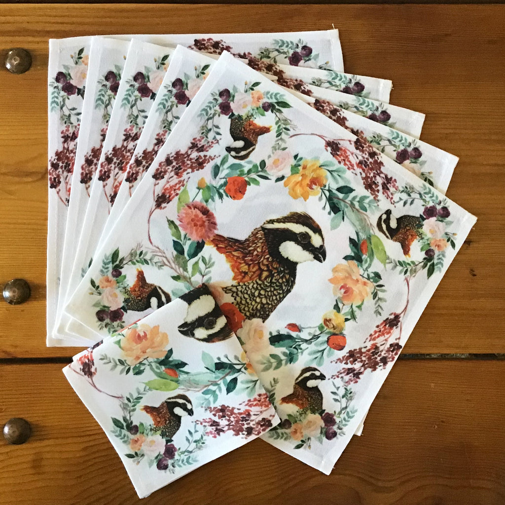 "Bobwhite Quail Cocktail/Beverage Napkins, 10"" x 10""- Set of Six"