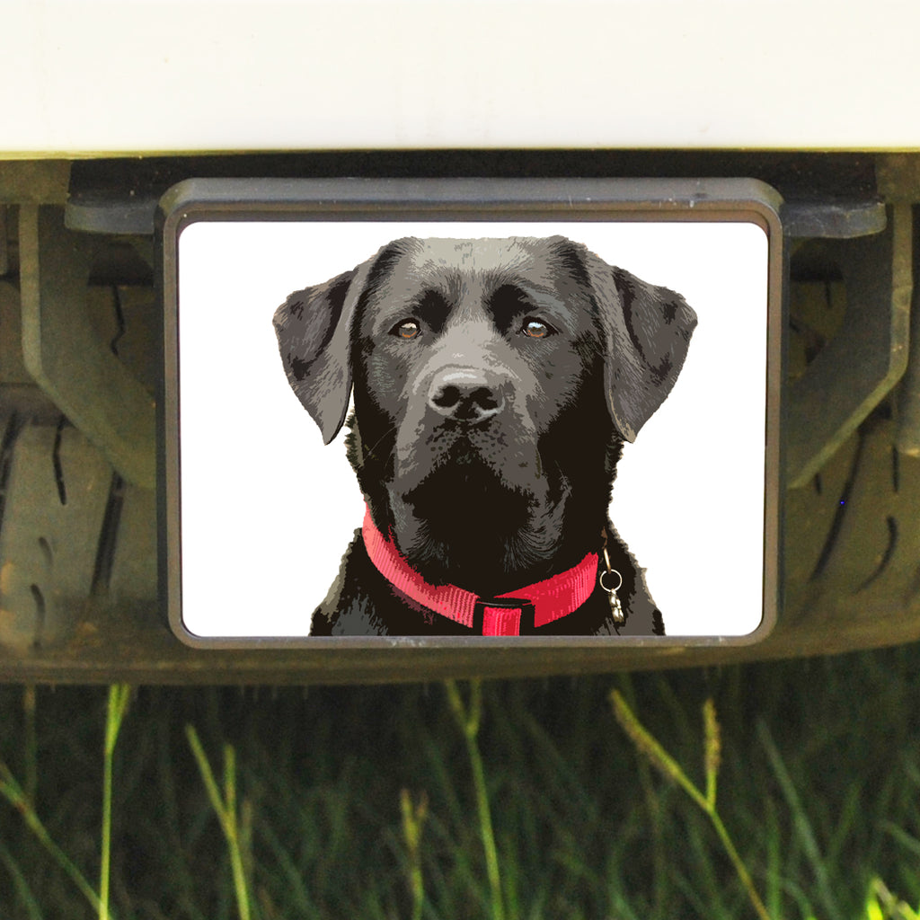 Rectangle Trailer Hitch Cover, Black Lab