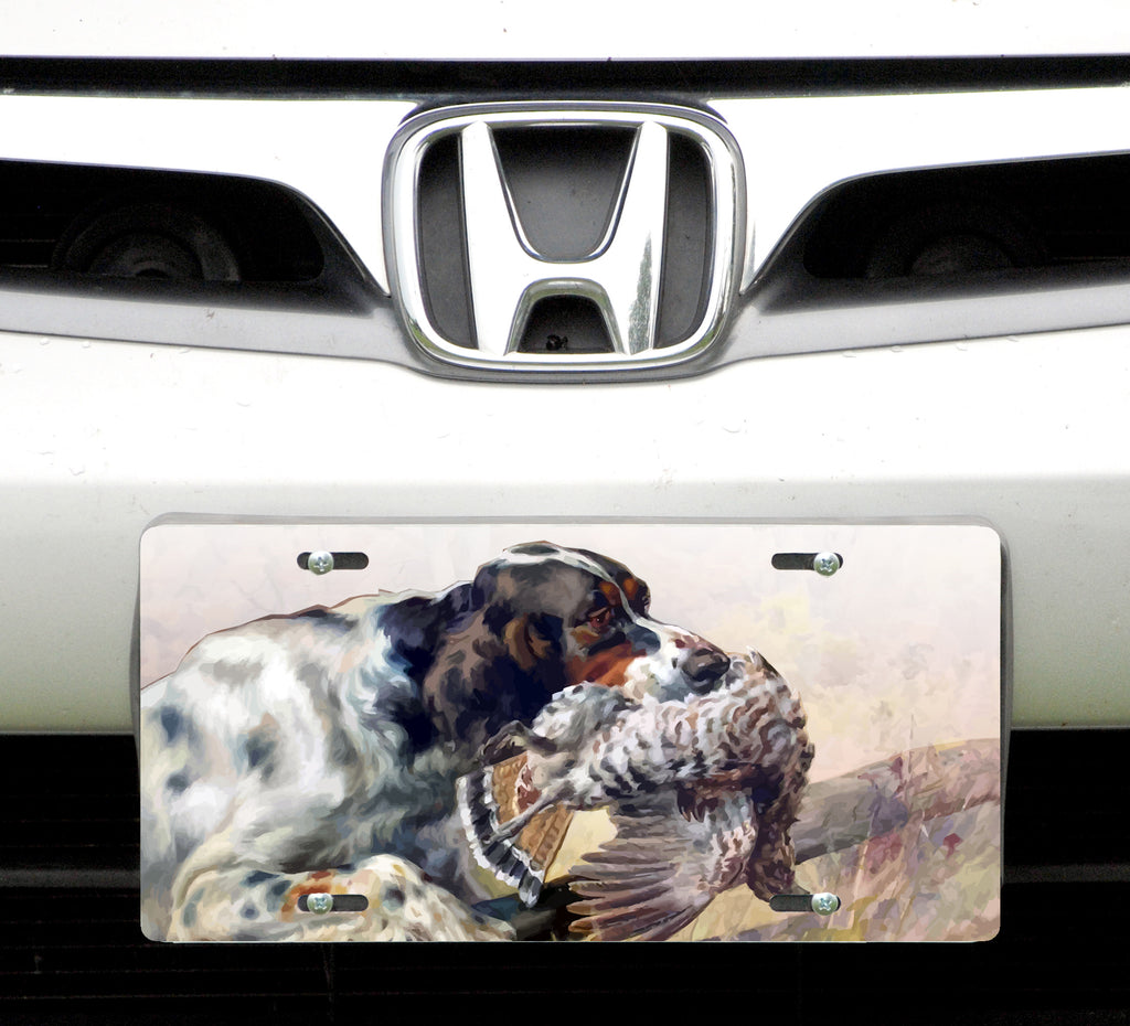 License plate, Retriever with Grouse