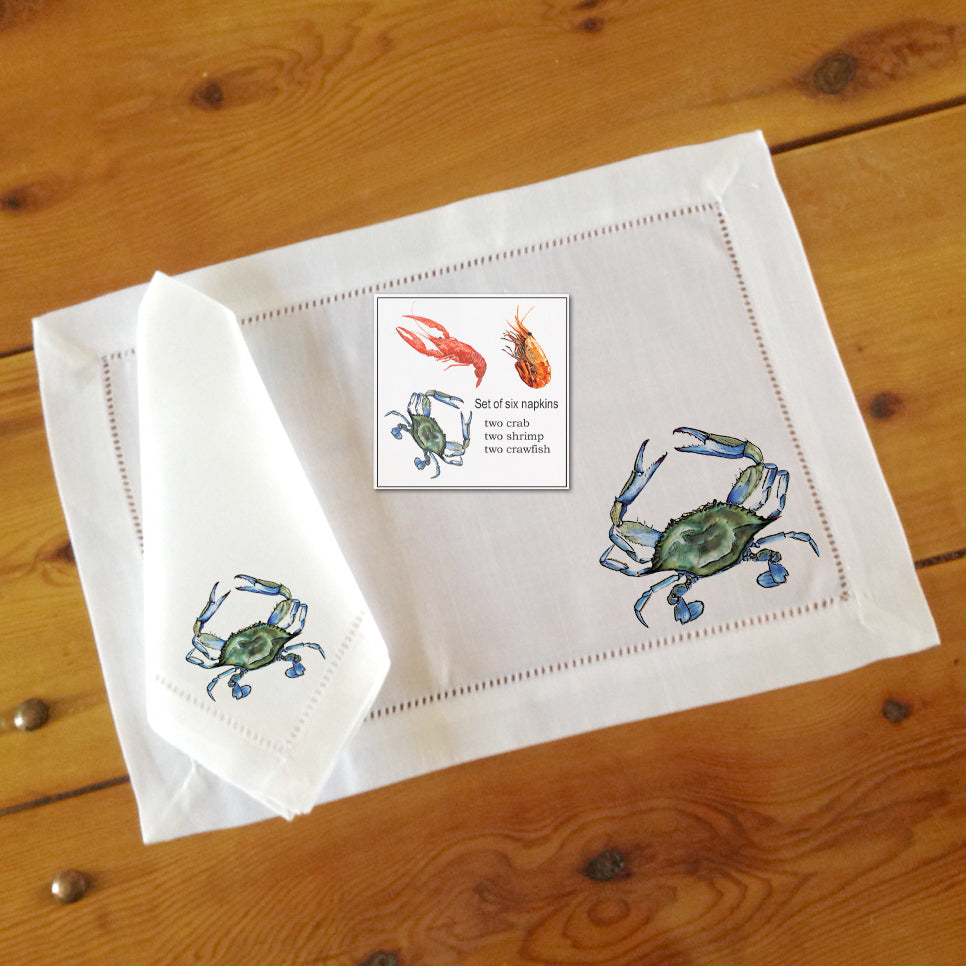 Hemstitch Place Mats & Napkins - Set of Six, Assorted Seafood (crab, shrimp, crawfish)