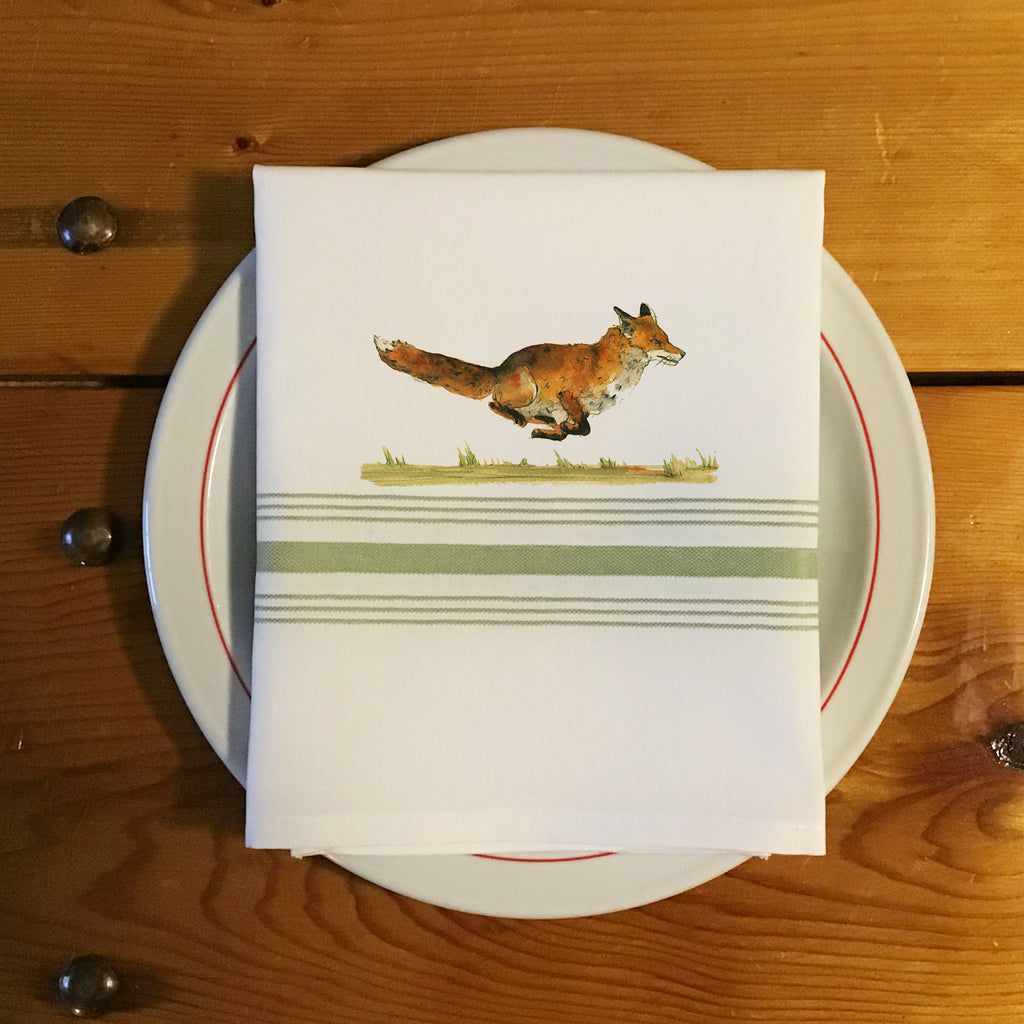 Bistro/Farmhouse Napkin with Sage Green Stripes - Red Fox