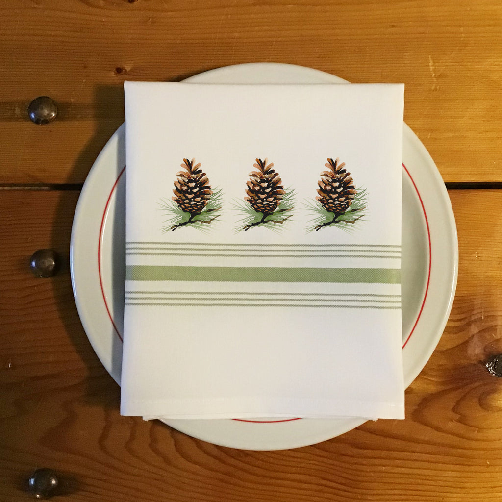 Bistro/Farmhouse Napkin with Sage Green Stripes - Pine Cones