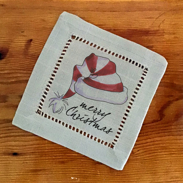 Hemstitch Cocktail Napkins- Set of Six, Santa Hat