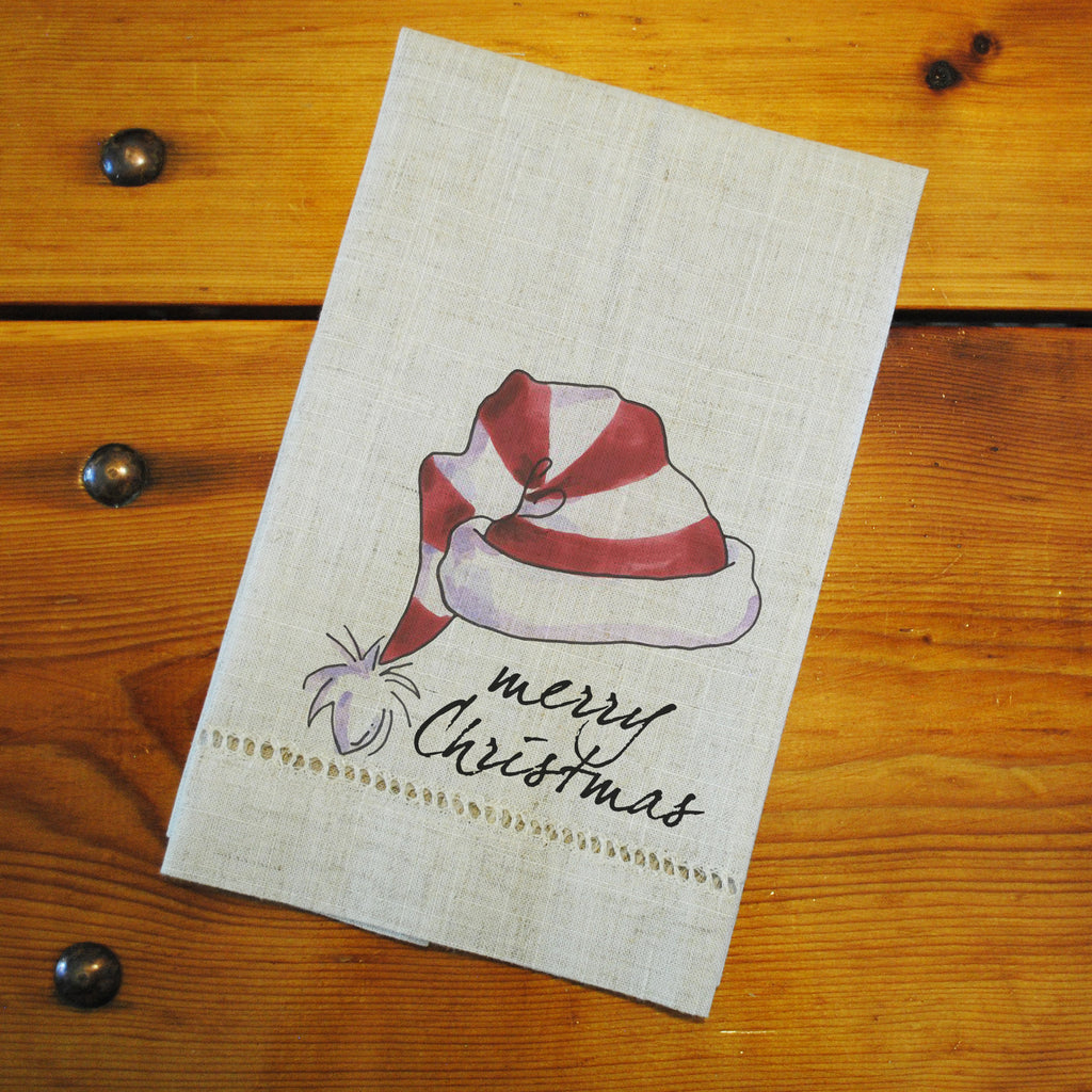 "Hemstitched ""Linen"" Tea Towel - Santa Hat"