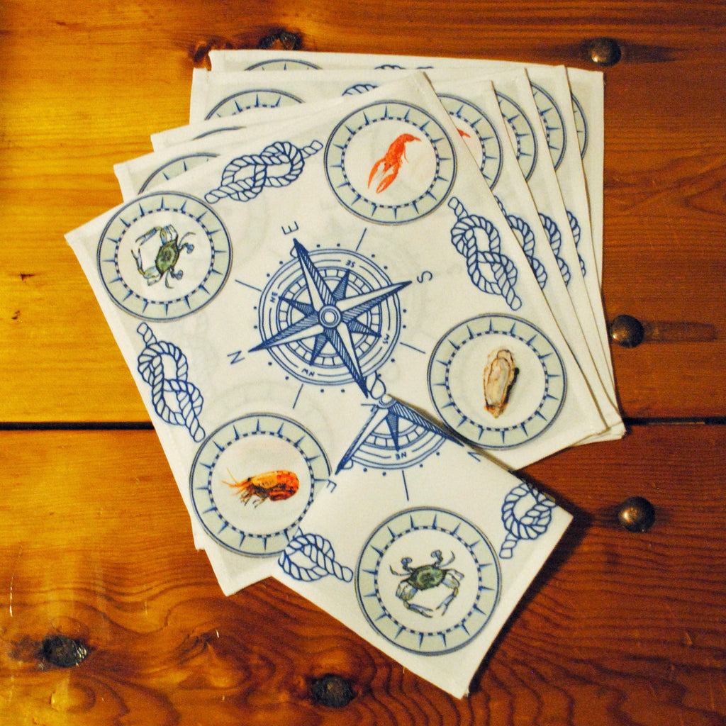 "Seafood Cocktail/Beverage Napkins, 10"" x 10""- Set of Six"